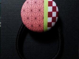 HB-N-000 手作り くるみ ボタン ヘアゴム 髪留め 髪飾り 麻の葉 文様 かわいい おしゃれの画像