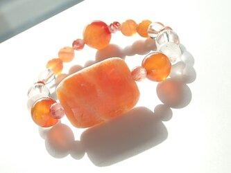 オレンジカルサイト カーネリアン ブレスレットの画像