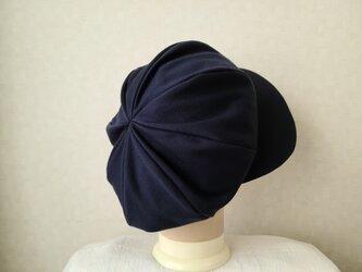 魅せる帽子☆新色♪ふわもこ大きめリバーシブルキャスケット~ネイビー&ブルーの画像