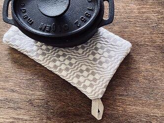手織り タテ長ポットマット グレーの画像
