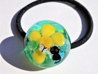 《ミモザとねこ》 ヘアゴム ガラス とんぼ玉 花 桜 ネコ ミモザ ちょうちょの画像