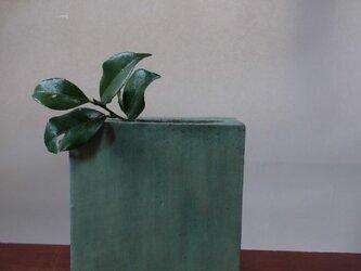 角型 花器 特大 グリーンそしてドットの画像