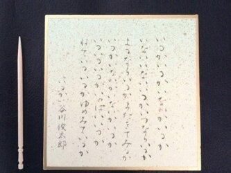 小さな色紙に、いるかの詩の画像