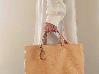 手染め帆布トートバッグMサイズ □くちなし色□の画像