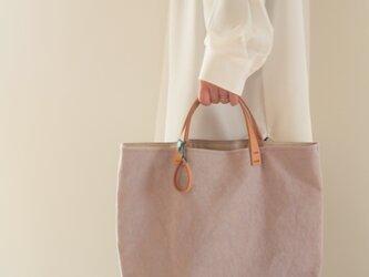手染め帆布トートバッグMサイズ □白つるばみ色□の画像
