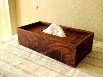 家具職人の作る ティッシュケース 「ウォールナット 節あり」 一品物の画像