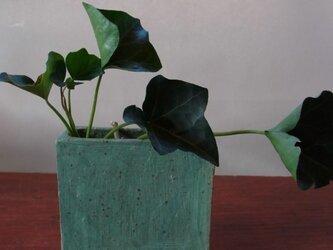 足付角型 植木鉢(小)グリーンの画像