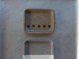 角皿 二枚セット 陶器 ドット&下粉引きの画像