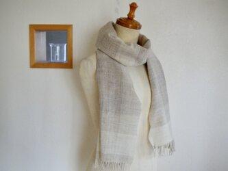 手紡ぎ手織りウールショール の画像