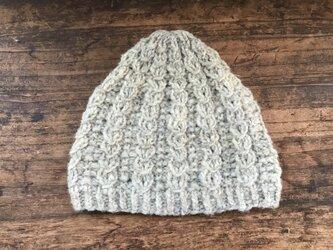 草木染め/手紡ぎ/ニット帽/ケーブルの画像