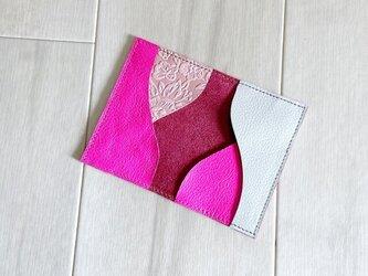 カードケース 本革 名刺入れ パスケース 蛍光 ピンクの画像
