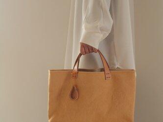 手染め帆布トートバッグMサイズ □黄くちなし色□の画像