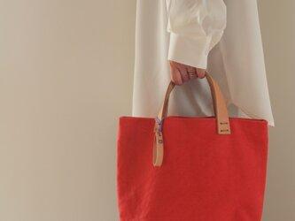 手染め帆布トートバッグSサイズ □まがい紅色□の画像