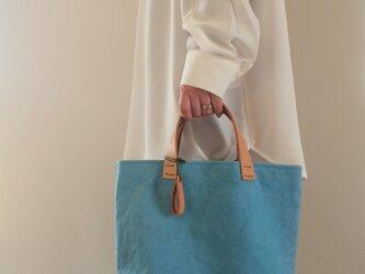手染め帆布トートバッグSサイズ □青竹色□の画像