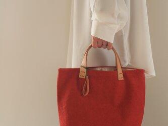 手染め帆布トートバッグSサイズ □緋色□の画像