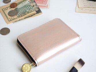 ラウンドファスナー コンパクト 財布(ペイント シルバー)牛革 小さい ミニ ILL-1199の画像