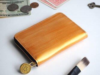 ラウンドファスナー コンパクト 財布(ペイント ゴールド)牛革 小さい ミニ ILL-1199の画像
