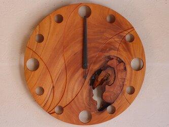無垢の木の電波掛け時計 けやき 0086の画像