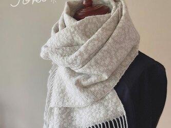 cashmerm[手織りカシミヤショール] ホワイトの画像