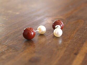 漆塗丸玉耳飾淡水真珠受「首里赤」桜花弁柄 rpc-125の画像