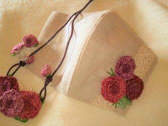【送料無料】総手縫いの刺繍お出掛けセット(レッドローズ/1点物)の画像