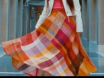 手織り フレアーロングスカートの画像