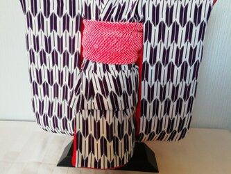 市松人形の着物12号サイズ 紫系 109の画像