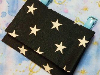 送料込み ハンドメイド移動ポケット シンプル 星柄 黒の画像