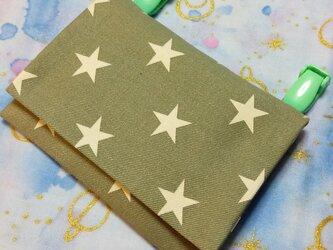 送料込み ハンドメイド移動ポケット シンプル 星柄 カーキグリーンの画像