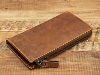 名入れ可 財布中を整理整頓。自分で育てる財布。オールレザーで仕上げた L字ファスナー長財布 アンバーの画像