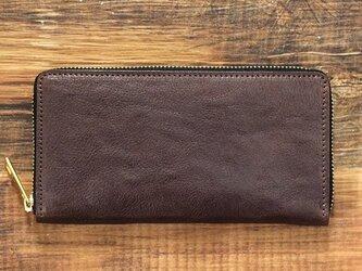 栃木レザー ラウンドファスナー 長財布 チョコ 牛革 本革 JAW016の画像