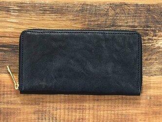 栃木レザー ラウンドファスナー 長財布 ブラック 牛革 本革 JAW016の画像