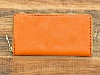 栃木レザー ラウンドファスナー 長財布 オレンジ 牛革 本革 JAW016の画像