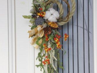 雲竜柳と実物のお正月リースの画像