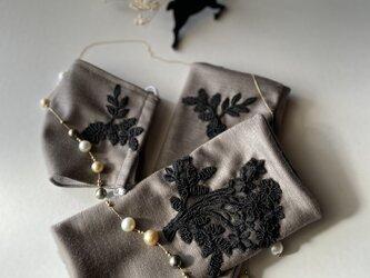 刺繍が豪華な大人のハンドウォーマーとマスクセット(アイリッシュグレー)クリスマスプレゼント♪温活の画像