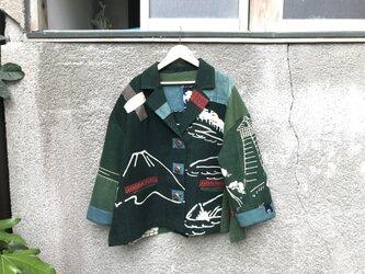 緑の古布ジャケット ●62センチ丈●の画像