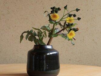 【一点もの】深い青味の備前焼の花瓶の画像