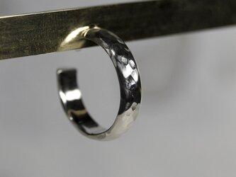 槌目 シルバープレーンフープピアス 4.0mm幅 凸凹 SILVER PIERCE 387の画像