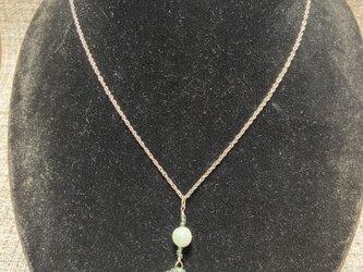 草木染めビーズと誕生石ネックレス 5月翡翠の画像