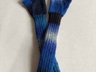 手編み長手袋【superba POEMS  004 デニム】の画像