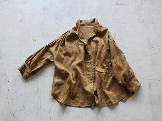 【NEW】後ギャザーのゆったりシャツ*フレンチリネンの画像