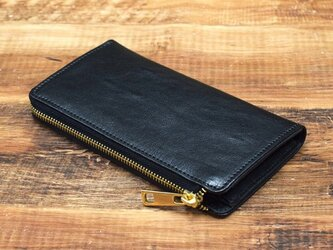 栃木レザー L字ファスナー 長財布 本革 牛革 ブラック JAW017の画像