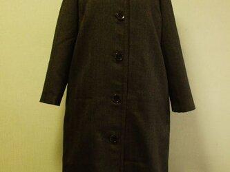 【セール品】ラウンドネック ラグラン袖 着丈109cm 長袖コート 裏地付き M~LL 茶色の画像