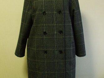 【セール品】ウール素材 前ダブル開き ラウンドネック 着丈98cm 長袖コート 裏地付き M~LL グレーチェック柄の画像