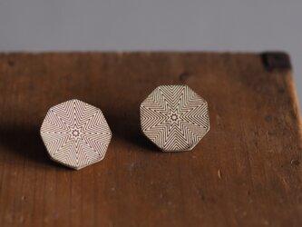 革製八角形型ピアス(チタン製金具)24x24mmの画像