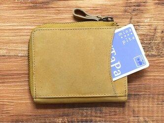 名入れ可 コンパクト ミニ財布 整理整頓、育てる財布。オールレザー L字ファスナー キャメル HAW015の画像