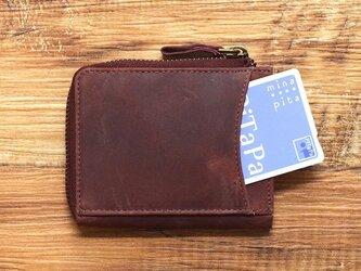 名入れ可 コンパクト ミニ財布 整理整頓、育てる財布。オールレザー L字ファスナー ワインレッド HAW015の画像