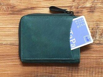 名入れ可 コンパクト ミニ財布 整理整頓、育てる財布。オールレザー L字ファスナー ダークグリーン HAW015の画像