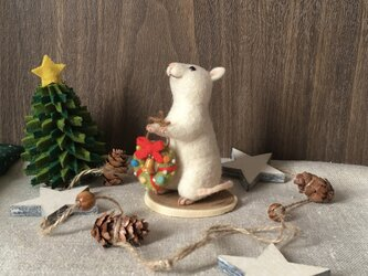 ネズミのクリスマス【リース】(1)の画像