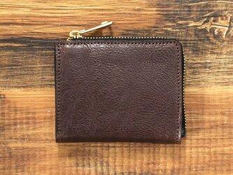 栃木レザー ミニ財布 L字ファスナー 整理しやすい コンパクト チョコ  JAW018の画像
